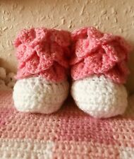 Handmade Crocheted Crocodile Stitch Booties Pink And White