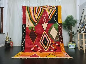 "Moroccan Handmade Boujad Berber Rug 5'5""x8' Geometric Red Yellow Tribal Wool Rug"