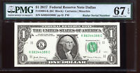 2017 $1 Federal Reserve Note Fancy BOOKEND RADAR Serial #K88344388C PMG 67EPQ