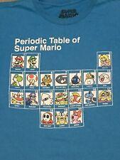 Vintage Nintendo Super Mario Periodic Table Squad Blue T-Shirt  Small Original
