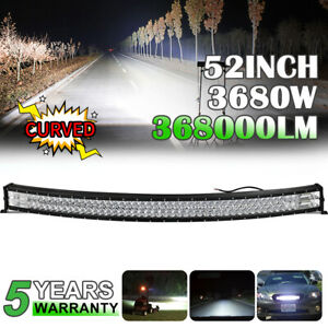 """LED Light Bar Curved 52""""inch 3680W Flood Spot Roof Driving Truck RZR SUV 4WD 54'"""