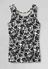 Lands End -  PXL (18P) - NIP - B&W Floral Print Interlock Cotton Knit Tank Top