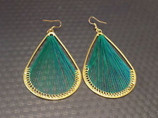 Large gold tone earrings with green string weave, dangle (16)