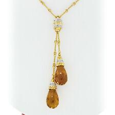 Estate 18K Gold 0.38ct Diamond & Briolette Citrine Tassel Drop Pendant Necklace