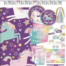 Unicorn Rainbow Party Tableware (Cups, Plates, Napkins), Decorations & Balloons