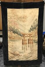 "Antique 19th CENTURY JAPANESE + Chinese Landscape Embroidery Panel 36"" X 55"""