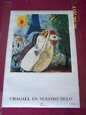 CHAGALL EN NUESTRO SIGLO/Los Novios de la Torre Eiffel 1991 SIGNED Museum Poster