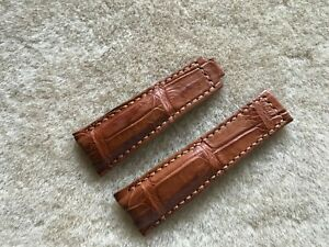 **READ** 20mm/16mm Genuine Tan Brown Crocodile Leather Watch Strap Band ForRolex