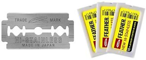 30 count Feather Hi-Stainless Double Edge Platinum Coated Razor Blades-Yellow