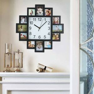 12 Photos Family Picture Frame & Modern Black Wall Hanging Time Clock Home Decor