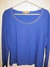 AUTHENTIC ELLEN TRACY BLUE WOMEN'S T-SHIRT SIZE XL