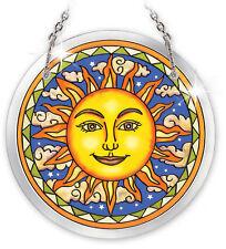"AMIA STAINED GLASS SUNCATCHER CELESTIAL HARMONY SUN 3.5"" ROUND  #5278"
