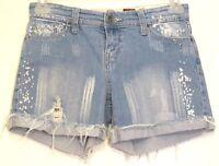 ZANA Di Junior 5 ZD Blue Bleach Splatter Distressed Cutoff Frayed Denim Shorts