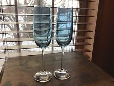 2 Hard To Find Pier 1 Blue Luster Champagne Flutes Glasses