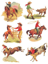 Vintage Image Shabby Retro Cowboys Cowgirls Rodeo Waterslide Decals MIS565
