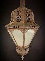 Ancienne Orientale lampe plafonnier Suspension en fer ajouré à 8 facettes verre