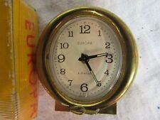Europa Vintage Travel Alarm Clock gold tone metal desk 2 jewels works small