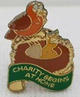 Vintage Charity begins at home badge 20*14mm