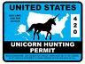 Unicorn Hunting Permit - United States (Bumper Sticker)