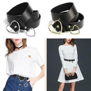 Heart PU Leather Waist Belt Heart-shaped Buckle Black Belts For Women Durable UK