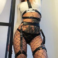 Women PU Leather Harness Garter Belt Waist Leg Restraints Lingerie Strap Costume