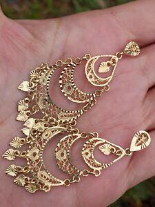 14k Bright Diamond Cut Chandelier 2 Inch Drop Dangle Earrings * 6 Grams *