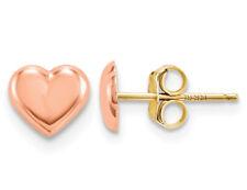 Bebé Pendientes del corazón en oro rosa 14K