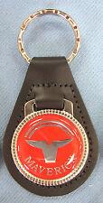 Vintage Original Red Ford MAVERICK Black Leather USA Keyring Key Fob Key Holder
