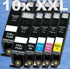 10x Cartuchos de Tinta con chip para Canon PIXMA ip7250 mg5450 mg5550 mg6450 XL