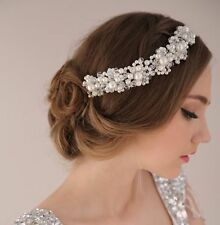 Wedding Bridal Hairband Headpiece Tiara Pearl Crystal Bride Hair Accessories