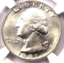 1981-D Washington Quarter 25C - NGC MS67 - Rare Date in MS67 Grade - $375 Value!