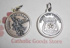 Saint St Michael the Archangel  - Police - Silver Tone Round- Medal with Prayer.