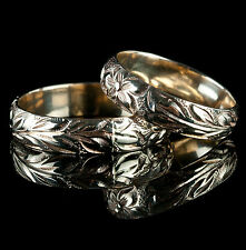 Unique 14k Yellow Gold Hand Engraved Matching Bride & Groom Wedding Ring Set