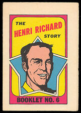 1971 72 OPC O PEE CHEE HOCKEY BOOKLET #6 HENRI RICHARD EX-NM MONTREAL CANADIEN