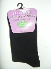 Women's Stay Fresh NON ELASTIC socks in Black size 4-6