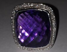 David Yurman 925 Sterling Silver 20mm Amethyst Albion Diamond Ring - Size 8