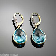 Piedra Preciosa EURO Alambre Pendientes - Topacio Azul, diamante, 14k