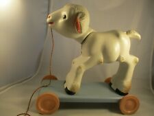 1950's Knickerbocker Lamb Hard Plastic Vintage Pull Toy