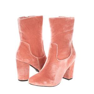 RRP€125 NASTY GAL Velour Ankle Boots EU 37.5 UK 4.5 US 6.5 Heel Zipped Round Toe