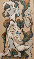 Andre Pierret dessin original pastel signé Bruxelles surrealisme expressionnisme