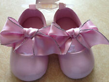 NEW BABY GIRL sz 3 PINK PATENT SATIN BOW BALLET BIRTHDAY EASTER SHOES 6-9 m LAST