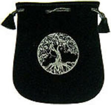 "Black Velvet Bag / Pouch 5"" x 5"": Tree of Life (Wicca Talisman Drawstring)"