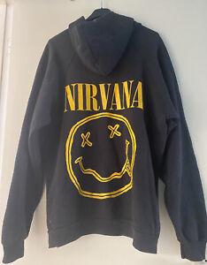 Genuine Vintage 90s NIRVANA Smiley Face Hoodie Hoody Sweatshirt - Black XL
