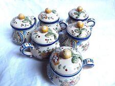 service de 6 pots à crème en faïence de Nevers signés Gabriel Montagnon