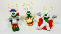 Lot of 3 Reindeer Winter Snow Fun PVC Toys Sun Arrow Co. Christmas Decoration