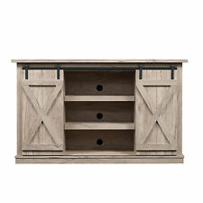 "New Natural Wood Double Sliding Barn Door Media Console TV 60"" Stand Cabinet"