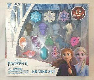 Disney's Frozen 2 Character Frozen Shaped Erasers 15 Piece Set NEW IN BOX