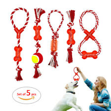 5pcs Interactive Dog Cotton Rope Chew Toys for Aggressive Pet Play Bite Toy set