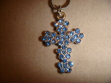 forget me not  cross necklace gorgeous blue flower Austrian crystal 18 in chain