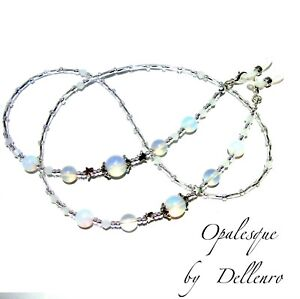 ✫OPALESQUE✫ OPALITE WHITE EYEGLASS GLASSES SPECTACLES CHAIN HOLDER CORD